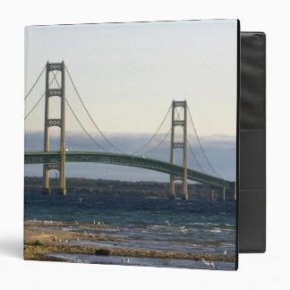 The Mackinac Bridge spanning the Straits of 4 Vinyl Binder