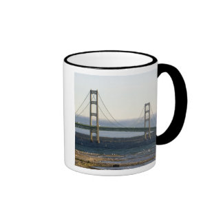 The Mackinac Bridge spanning the Straits of 4 Ringer Coffee Mug