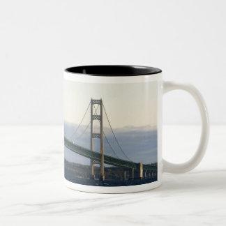 The Mackinac Bridge spanning the Straits of 4 Two-Tone Coffee Mug