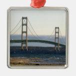 The Mackinac Bridge spanning the Straits of 4 Square Metal Christmas Ornament