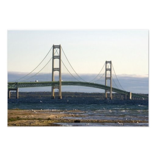 The Mackinac Bridge spanning the Straits of 4 Photo Print
