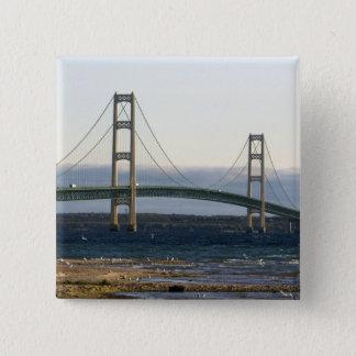 The Mackinac Bridge spanning the Straits of 4 Pinback Button
