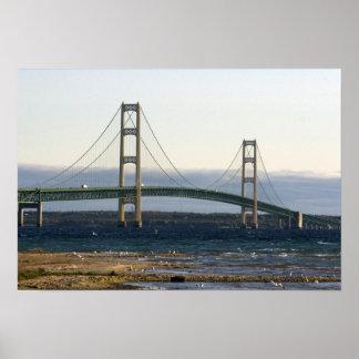 The Mackinac Bridge spanning the Straits of 4 Print