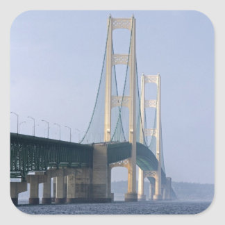 The Mackinac Bridge spanning the Straits of Square Sticker