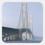 The Mackinac Bridge spanning the Straits of Square Sticker