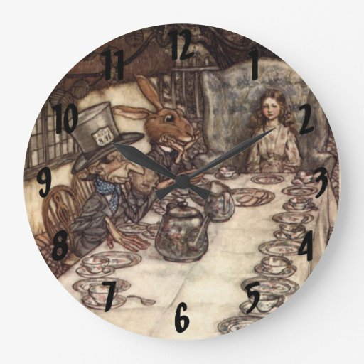 The Mad Hatter Tea Party Arthur Rackham Wall Clock