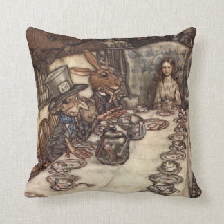 The Mad Hatter Tea Party by Arthur Rackham Throw Pillow