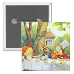 The Mad Hatters Tea Party Full Color 2 Inch Square Button