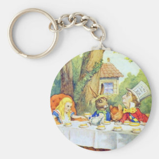 The Mad Hatters Tea Party Full Color Basic Round Button Keychain