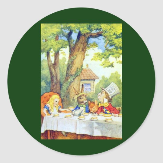 The Mad Hatters Tea Party Full Color Classic Round Sticker