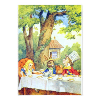 The Mad Hatters Tea Party Full Color 5x7 Paper Invitation Card