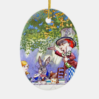 The Mad Hatter's Tea Party in Alice in Wonderland Ceramic Ornament