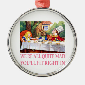 The Mad Hatter's Tea Party in Alice in Wonderland Metal Ornament