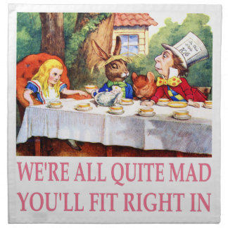 The Mad Hatter's Tea Party in Alice in Wonderland Cloth Napkin