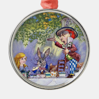 The Mad Hatter's Tea Party in Alice in Wonderland Round Metal Christmas Ornament