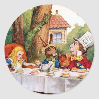 The Mad Hatter's Tea Party in Wonderland Stickers