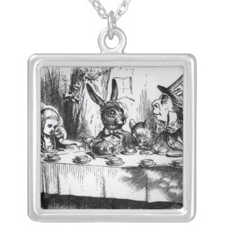 The Mad Hatter's Tea Party Silver Plated Necklace