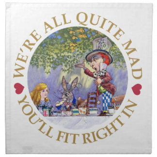 "The Mad Hatter's Tea Party - ""We're all Quite Mad"" Napkins"