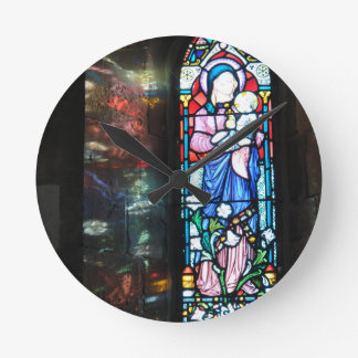 The Madonna and Baby Jesus, stained glass painting Round Wallclock