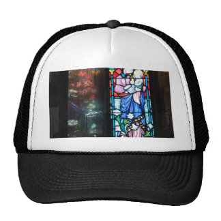The Madonna and Baby Jesus, stained glass painting Trucker Hat