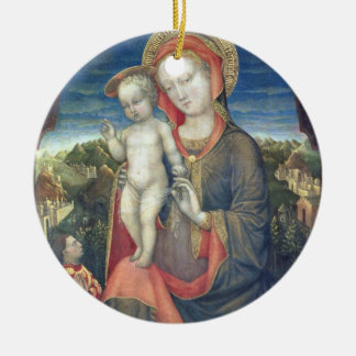 The Madonna of Humility adored by Leonello d'Este Ceramic Ornament