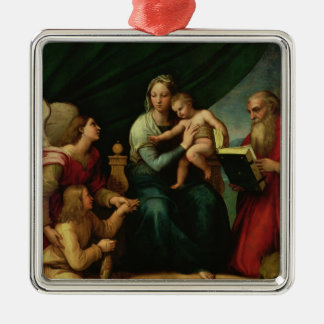 The Madonna of the Fish  c.1513 Square Metal Christmas Ornament