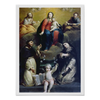 The Madonna of the Rosary with SS Dominic, Catheri Poster