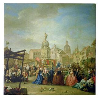 The Madrid Fair in the Plaza de la Cebeda (oil on Large Square Tile