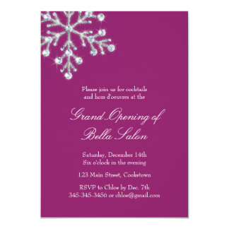 The Magenta Grand Opening Offset Crystal Snowflake 5x7 Paper Invitation Card