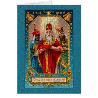 the magi came to worship Victorian Christmas Greeting Card