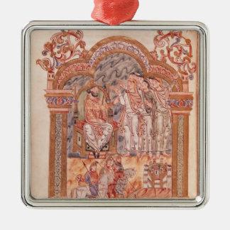 The Magi Visiting King Herod Square Metal Christmas Ornament