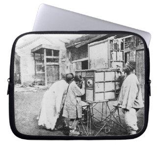 The magic lantern, c.1870 (b/w photo) laptop computer sleeve