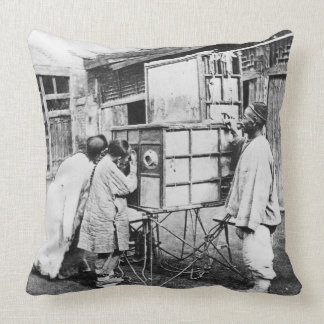 The magic lantern, c.1870 (b/w photo) pillow