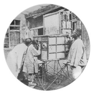 The magic lantern, c.1870 (b/w photo) party plates