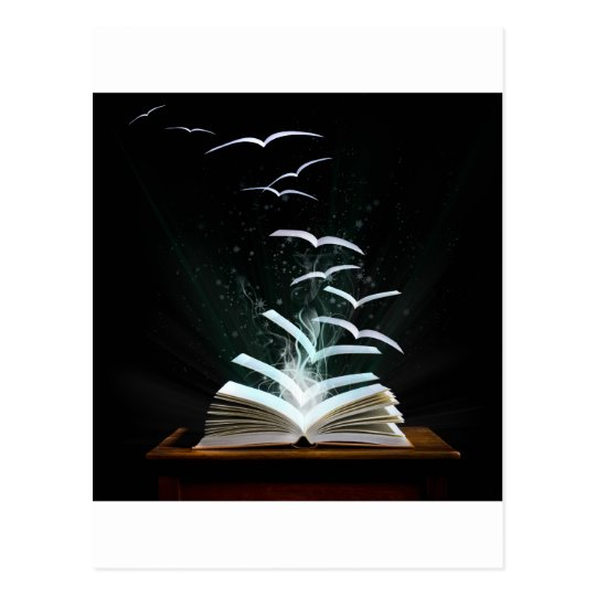 The magical world of reading postcard