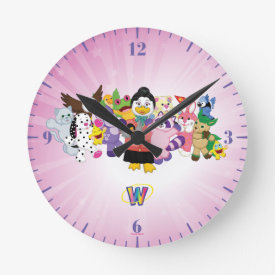 The Magical World of Webkinz Round Clock at Zazzle