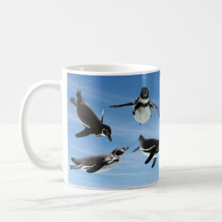 The magnetic cup of the penguin which flies throug classic white coffee mug