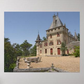 The magnificent Chateau de Pressac and garden Poster