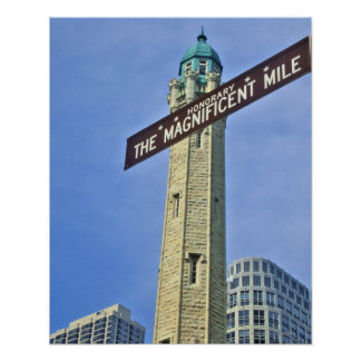 'The Magnificent Mile Sign with the Water Tower,