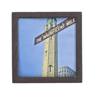 'The Magnificent Mile Sign with the Water Tower, Jewelry Box
