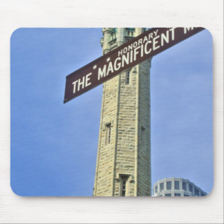 'The Magnificent Mile Sign with the Water Tower, Mouse Pad