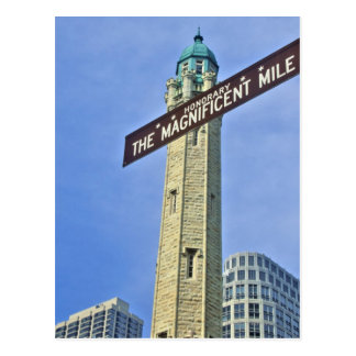 'The Magnificent Mile Sign with the Water Tower, Postcard