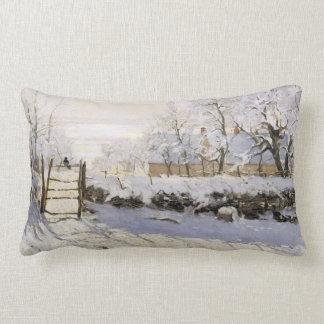 The Magpie by Monet Lumbar Pillow
