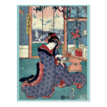 The maiden of the liquor store by Utagawa,Toyokuni Post Card