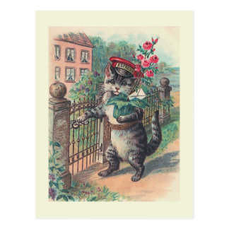 """The Mailman"" Vintage Cat Postcard"