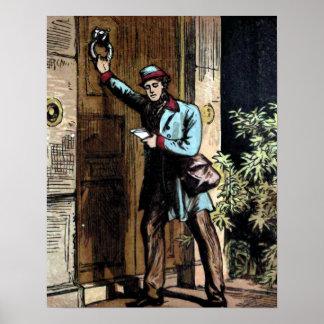 """The Mailman"" Vintage Illustration Poster"