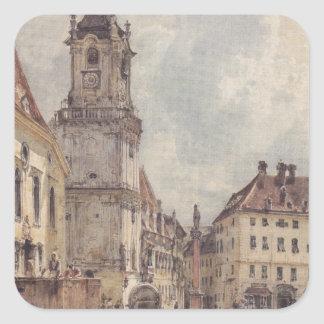 The main square in Bratislava by Rudolf von Alt Square Sticker
