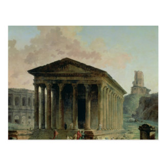 The Maison Carree with the Amphitheatre Postcard
