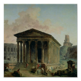 The Maison Carree with the Amphitheatre Poster