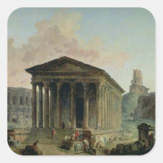 The Maison Carree with the Amphitheatre Square Sticker